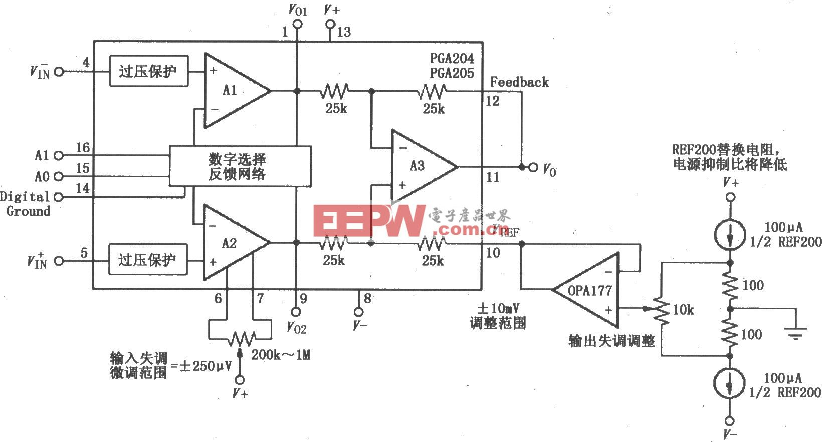 PGA204/205的失調電壓校正電路