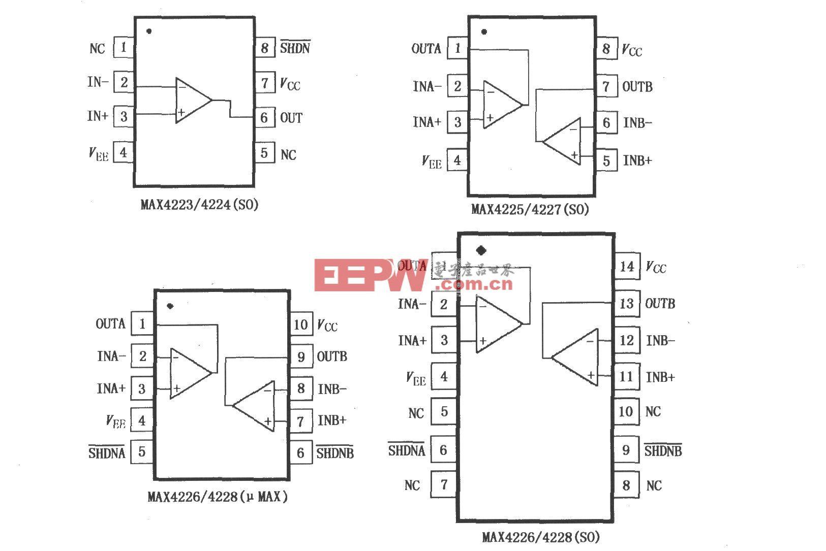 MAX4223~ MAX4228低功率電流反饋放大器