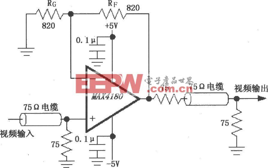 由MAX4180構成的視頻線驅動放大器電路