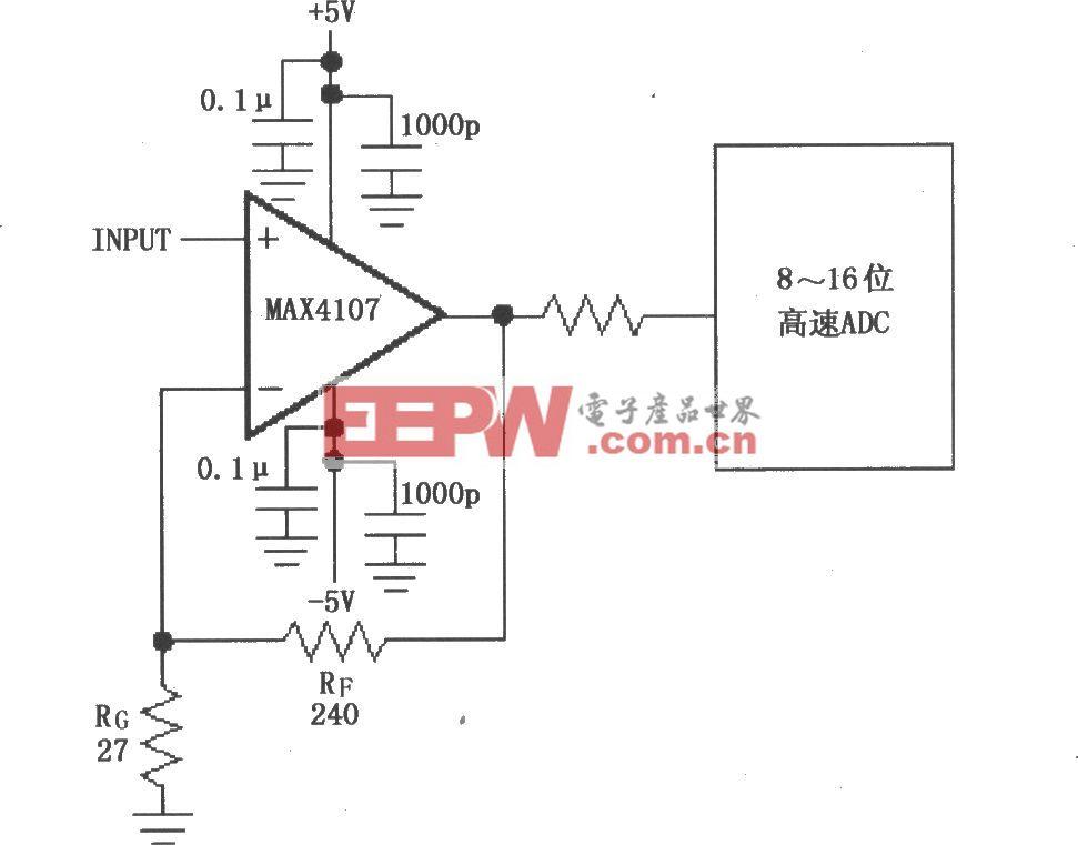 由MAX4107构成的同相增益电路