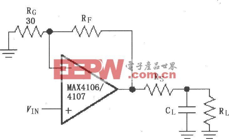 由MAX4106/4107构成的驱动电容性负载电路