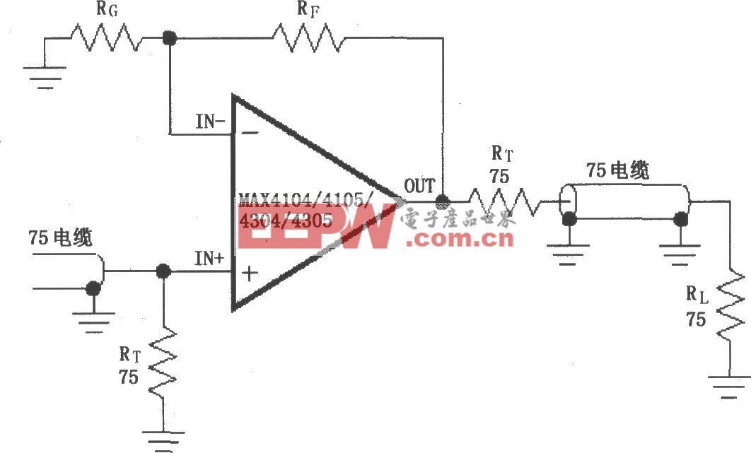 由MAX4104/4105/4304/4305构成的视频电缆驱动放大电路