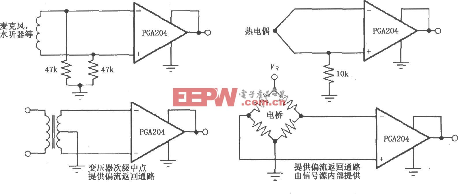 PGA204/205提供输入共模电流通路电路