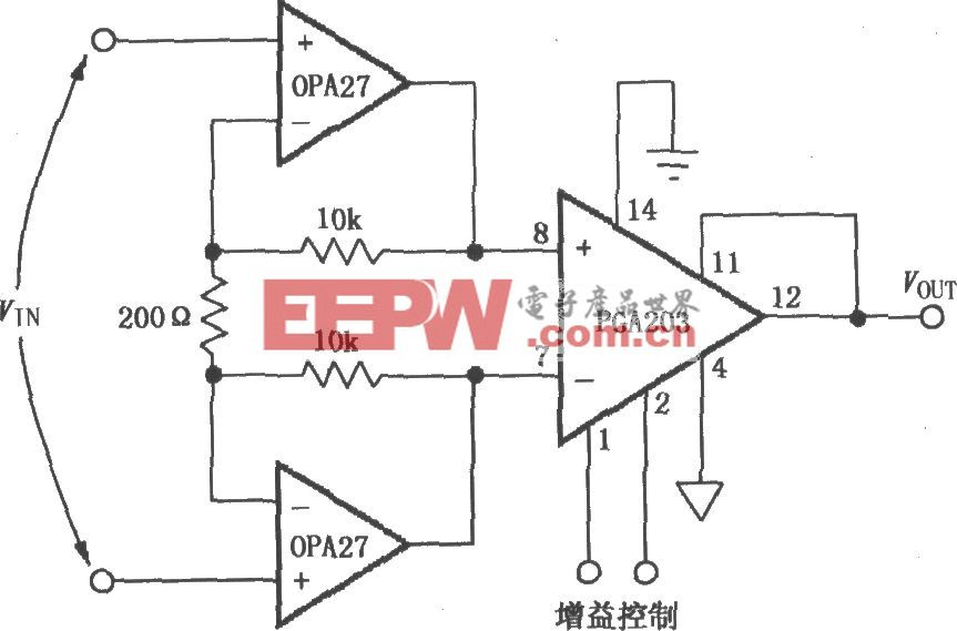 由PGA203与OPA27构成的低噪声差分放大器