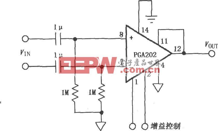 交流耦合差动放大器(PGA202)