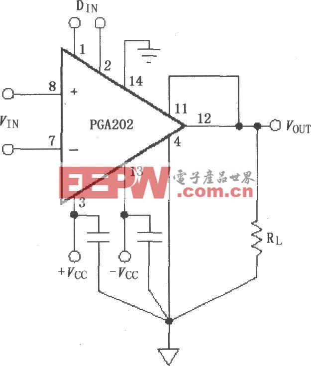 PGA202信号和电源的基本连接电路