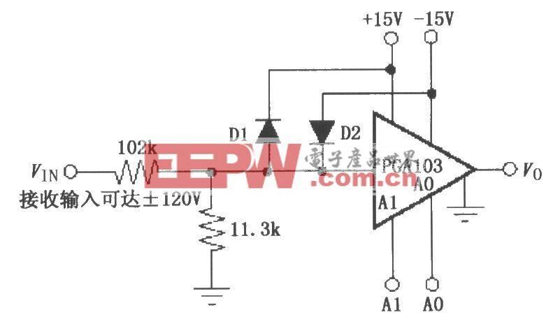由PGA103构成的宽输入电压范围放大器