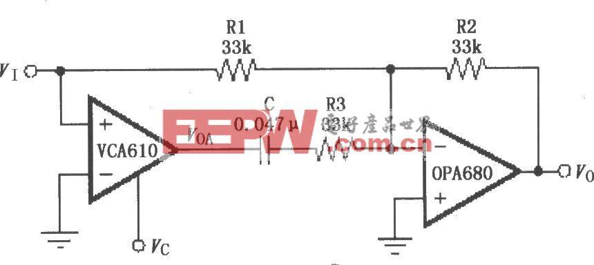 电压控制高通滤波电路(VCA610)