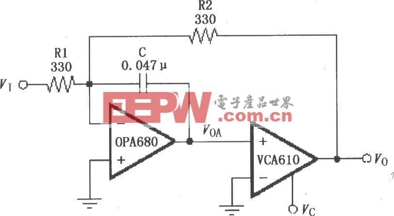 电压控制低通滤波电路(VCA610/OPA680)
