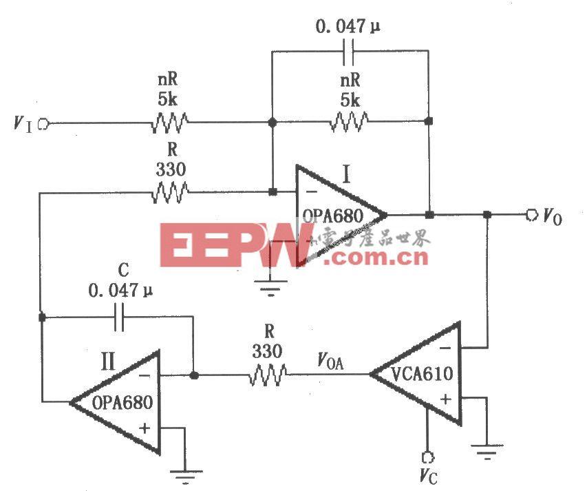 电压控制带通滤波电路(VCA610)