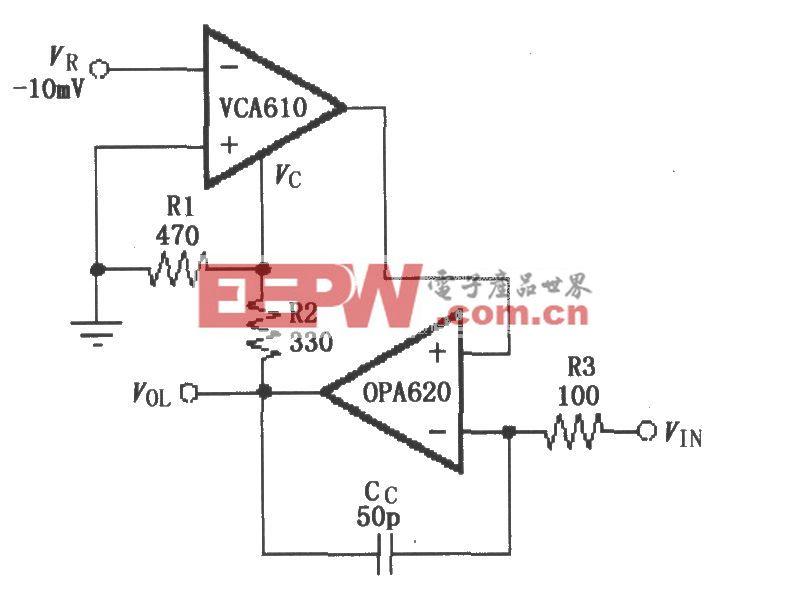 温度补偿对数响应的反馈放大电路(VCA610/OPA620)