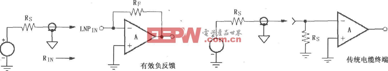 VCA2612/2613/2616有效負反饋和傳統電纜終端結構電路