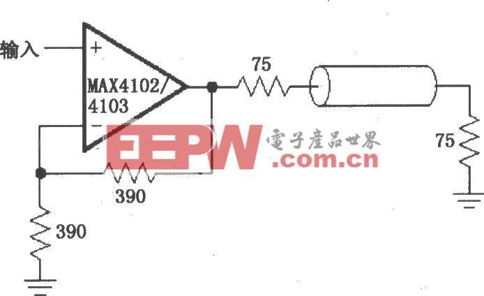 由MAX4102/4103��成的��l/射�l分配放大�路