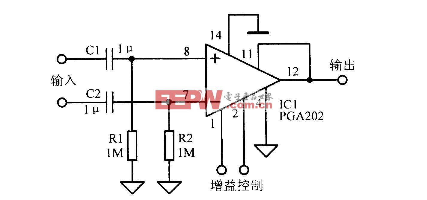 增益可编程交流耦合差动放大电路