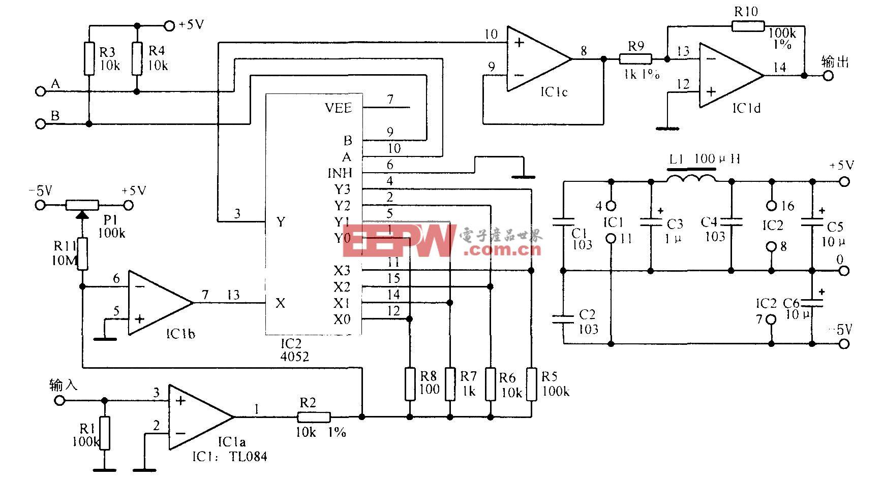 混合电路组成的增益可编程放大电路