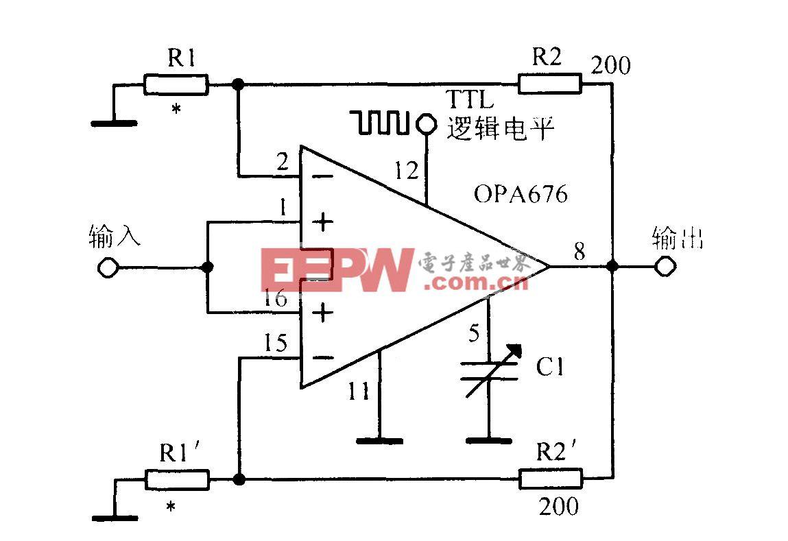 使用宽带开关输入运算放大器OPA676的增益可编程放大电路
