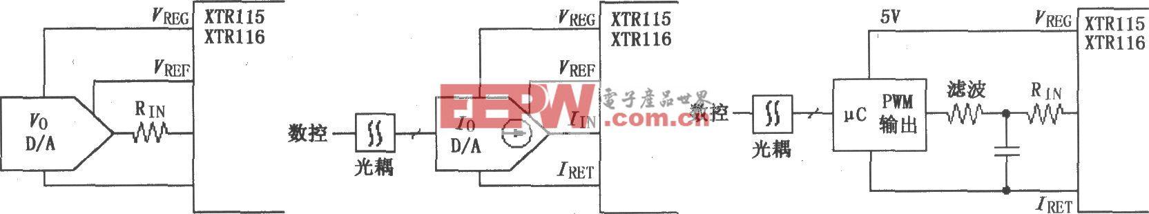 XTR115/116采用数控方法的电路