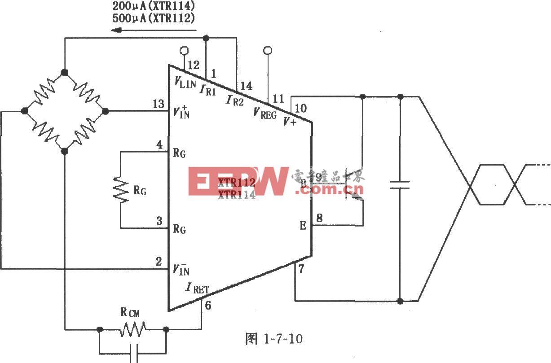 XTR112/114电桥输入、电流激励电路