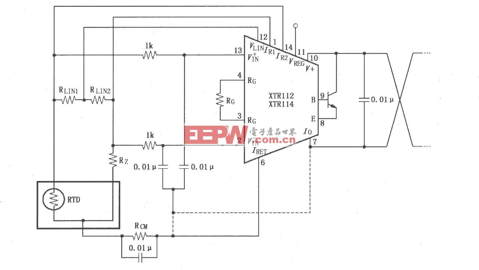 具有线性化的输入旁路电♀路(XTR112/114)