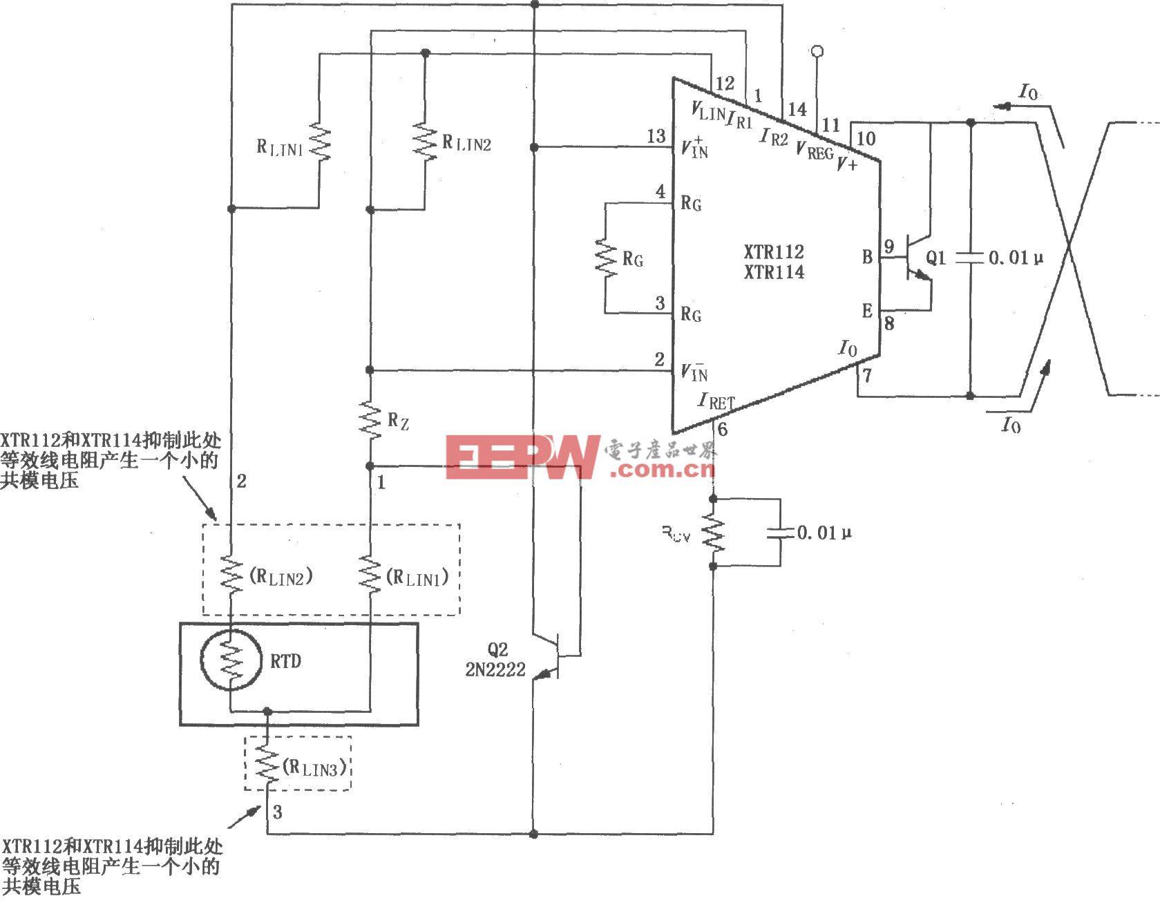 XTR112/114三线远程电阻式热探测器连接电路