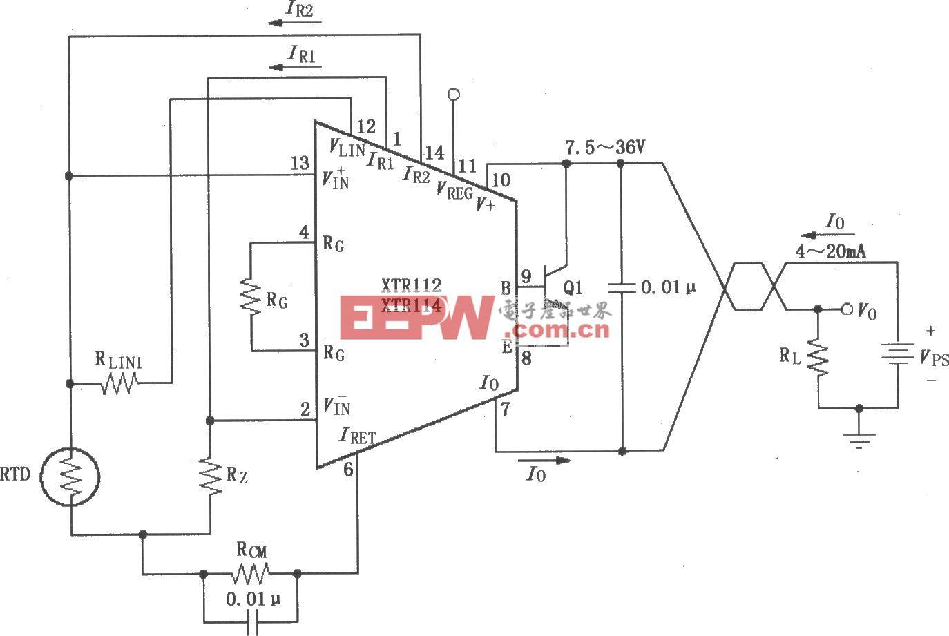 XTR112/114基本两线RTD温度测量电路