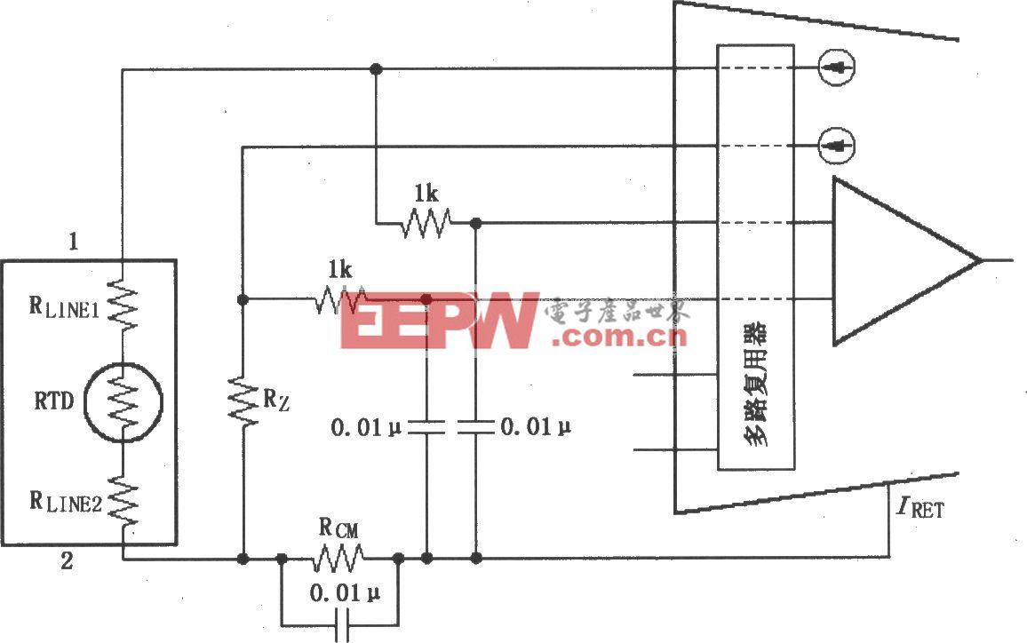 两线RTD连接电路(XTR108)