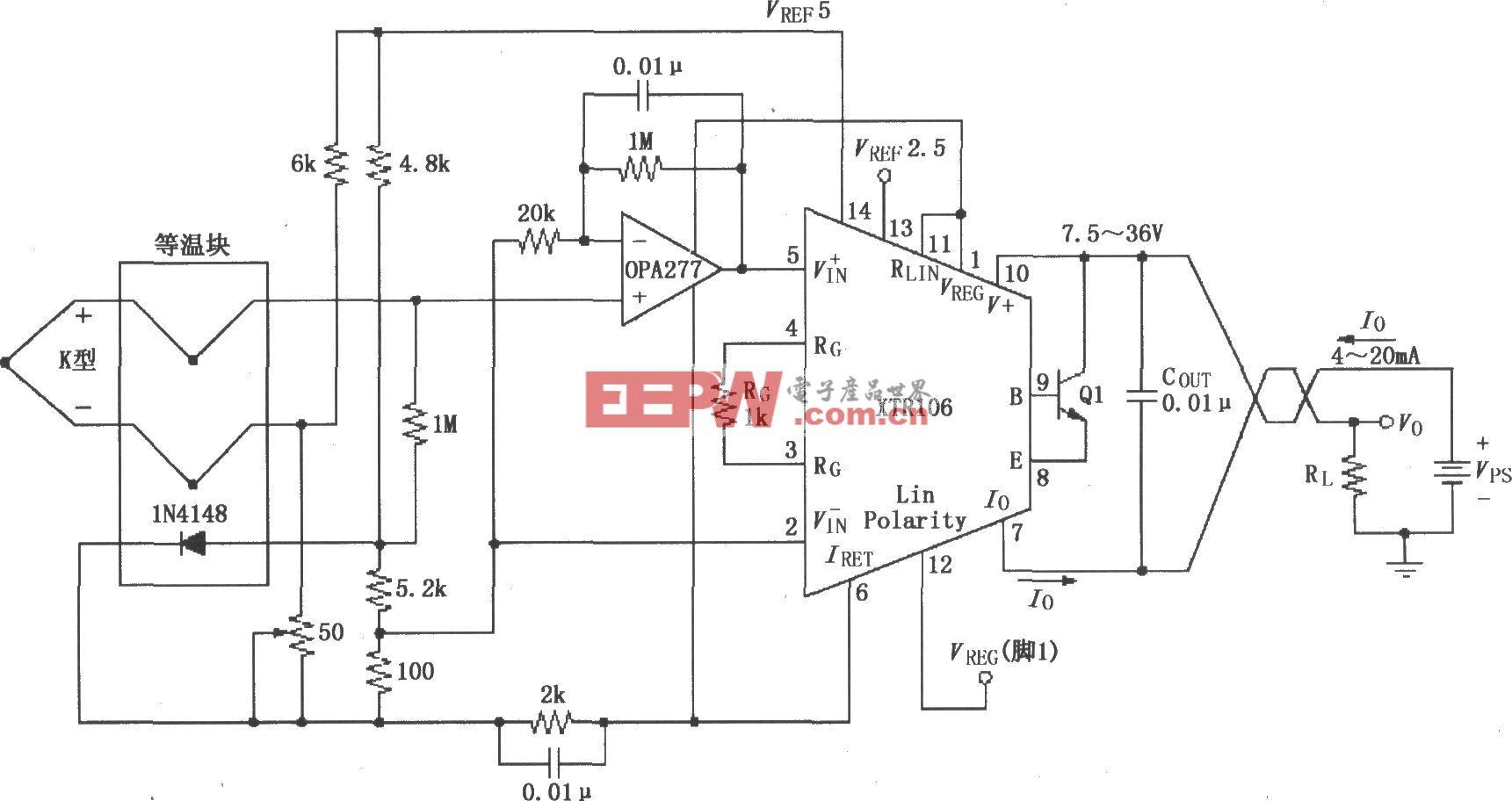 XTR106热电偶测量环电路
