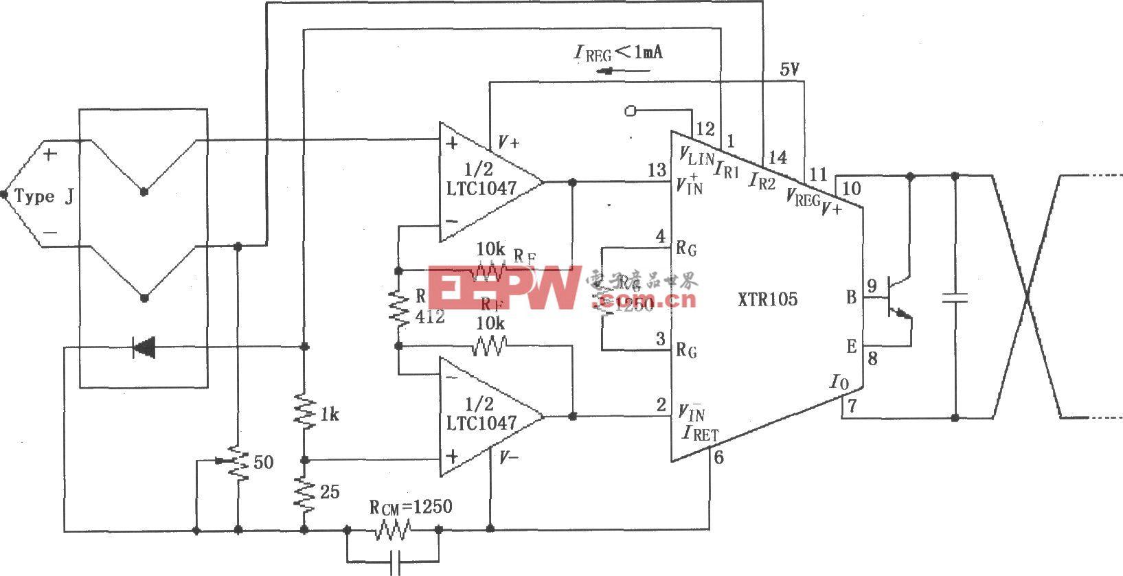 XTR105热电偶测量环电路