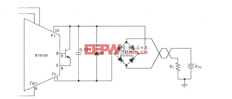 XTR105反向电压和浪涌过电压保护电路