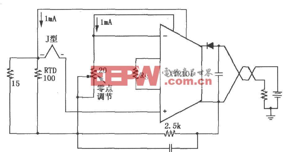 XTR101构成的具有RTD冷端补偿的热电偶输入电路