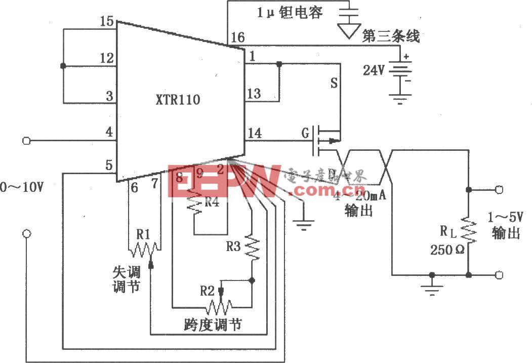 XTR110失调与跨度调节电路