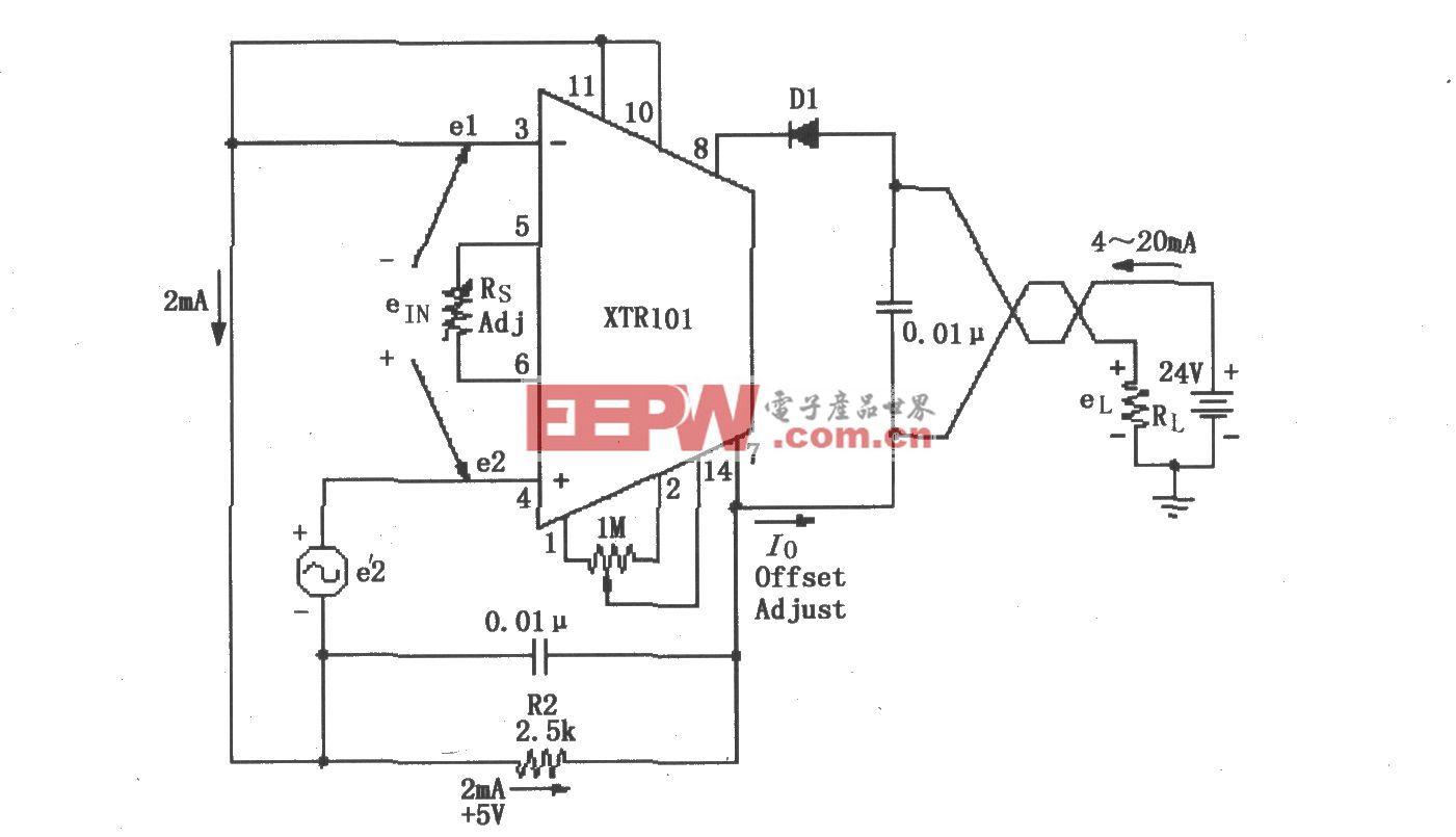 XTR101浮动电压源电路
