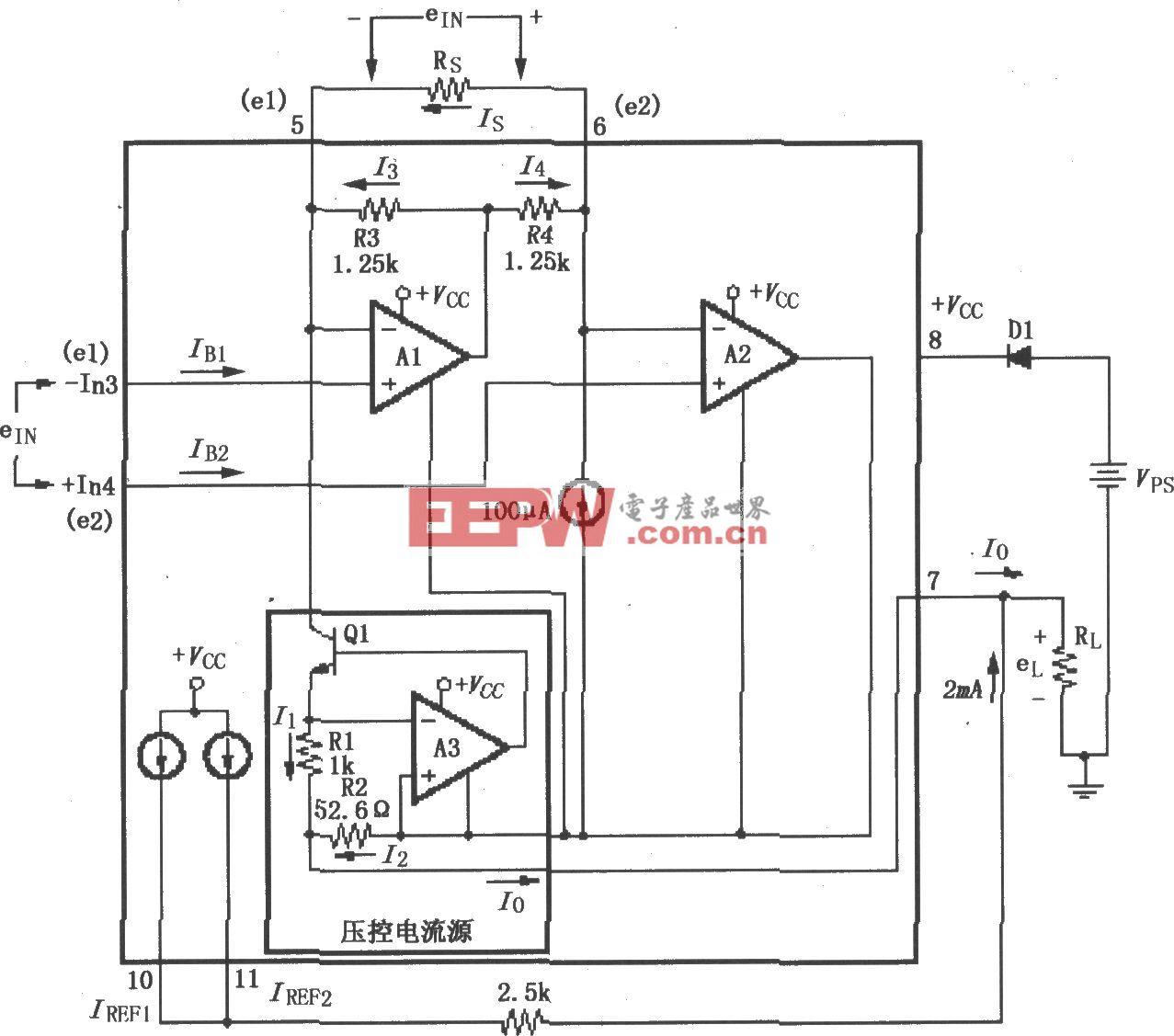 XTR101基本电源和信号连接电路
