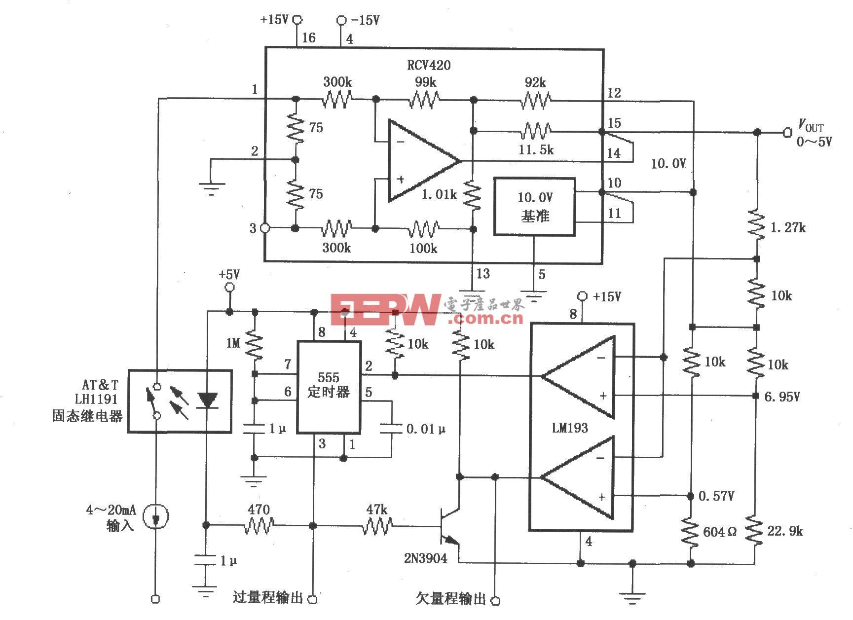 RCV420构成的具有输入过载保护的4~20mA电流环路接收器