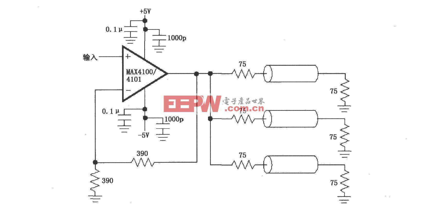 由MAX4100/4101构成的视频/射频分配放大电路