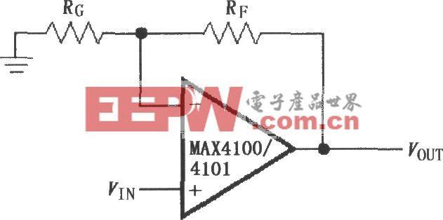 由MAX4100/4101構成的同相增益電路