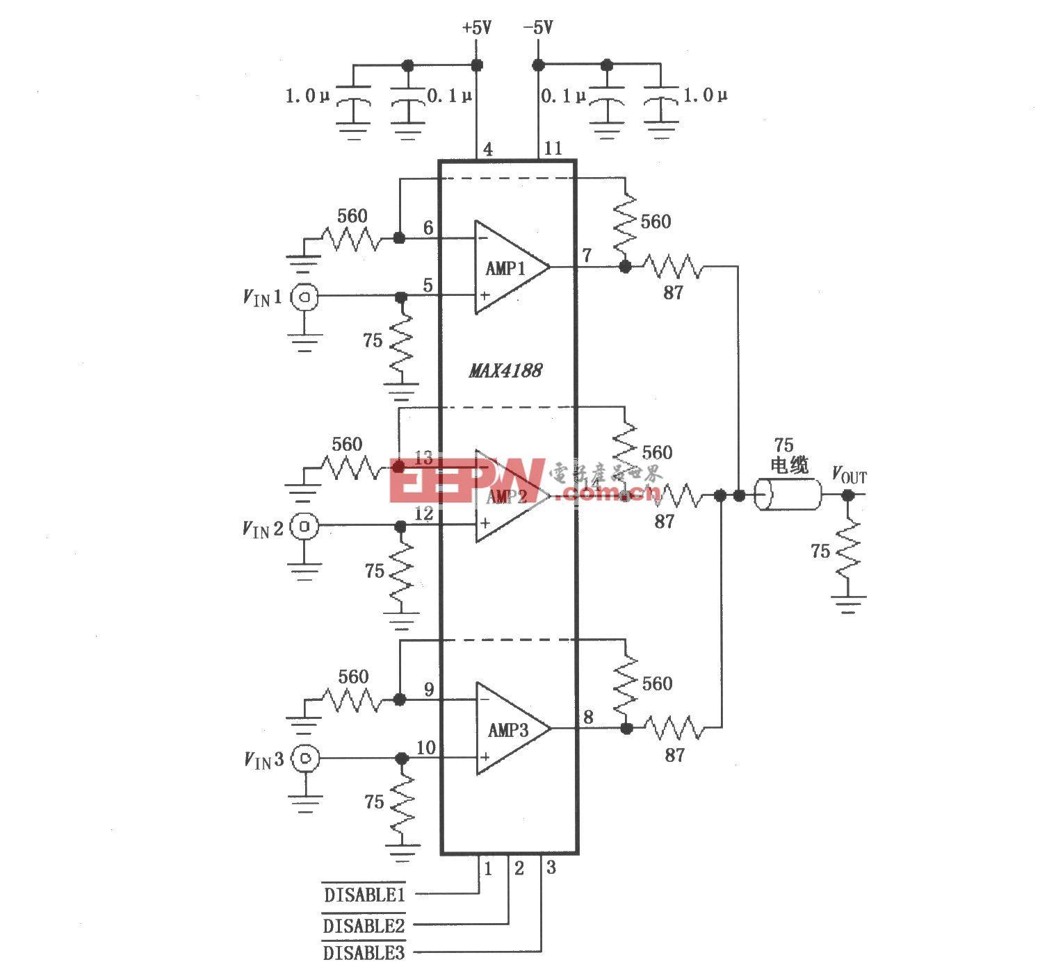 高速3:1视频多路分配器(MAX4188)
