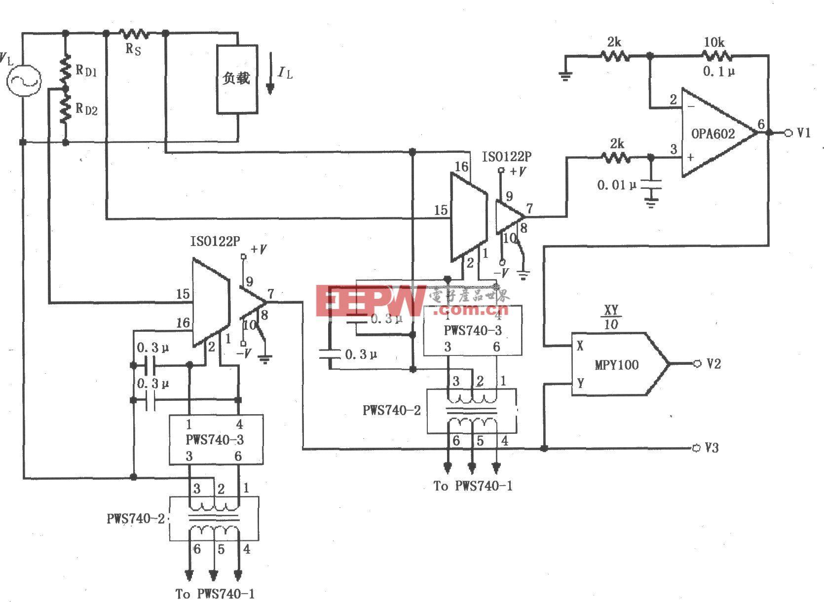 隔离式电源线监控电路(ISO122P/124、OPA602)