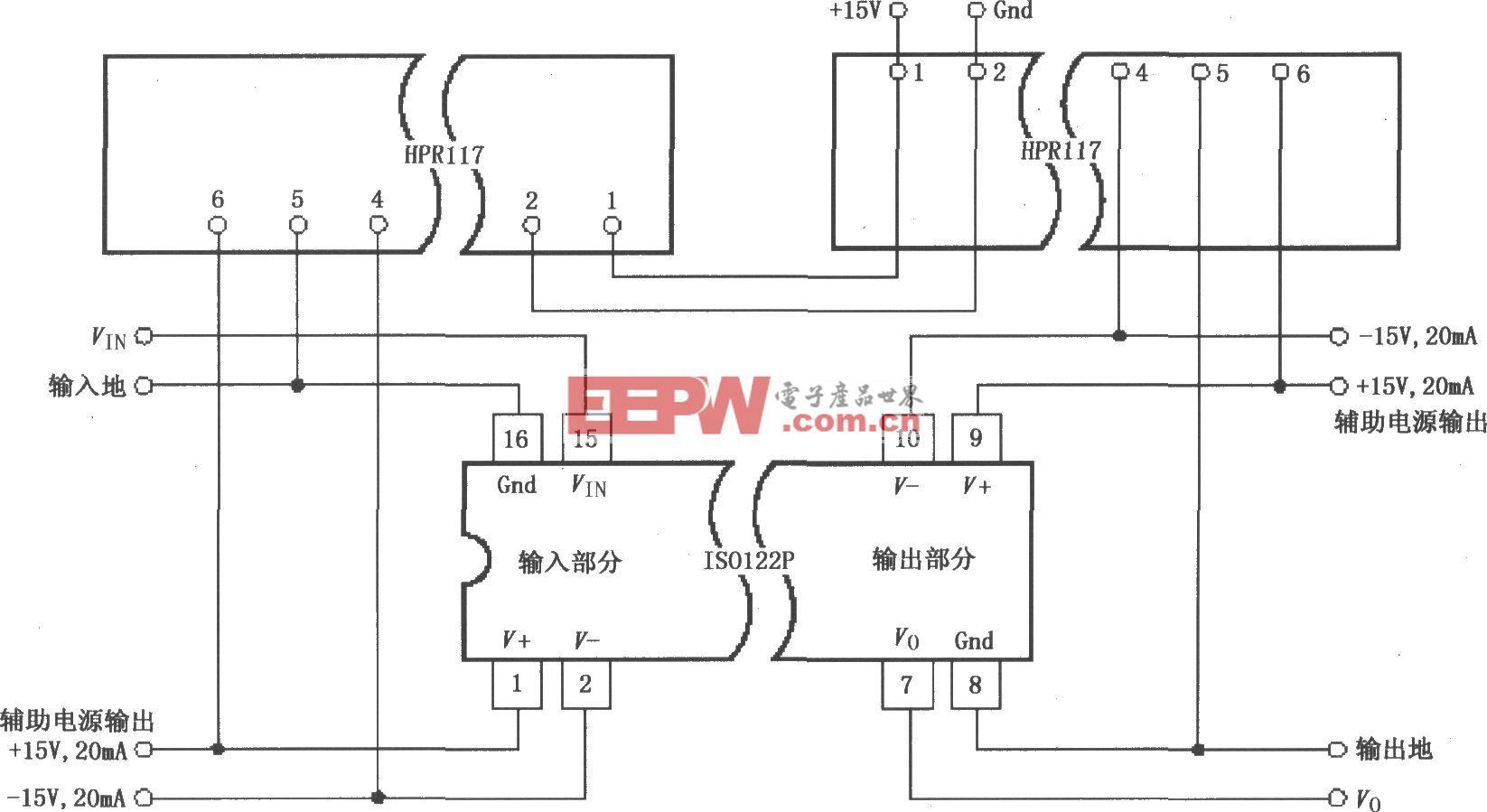 ISO122P/124具有三端口的电源隔离放大电路