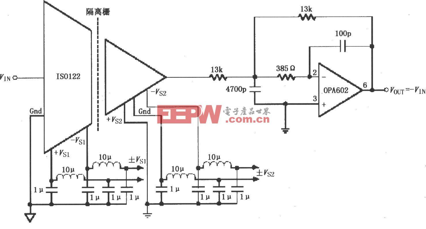 由ISO122/124构成的π型滤波器电路