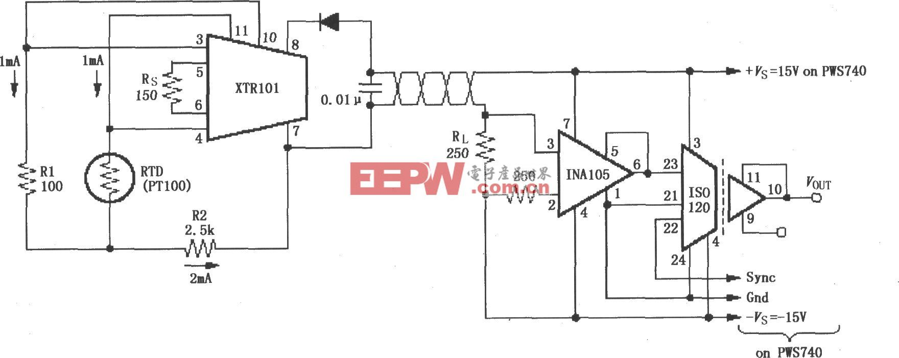 检测4~20mA环路仪器放大电路(ISO120、XTR101)