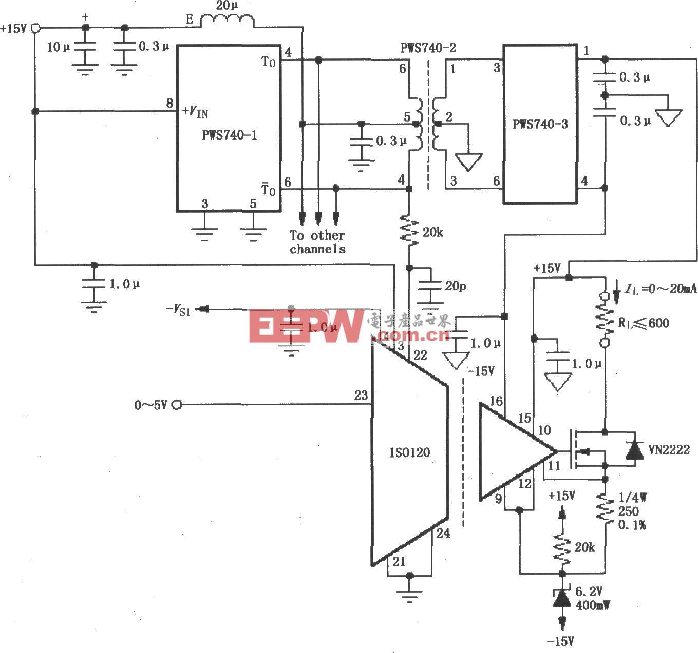 由ISO120与PWS740构成的八通道隔离式0~20mA电流环电路