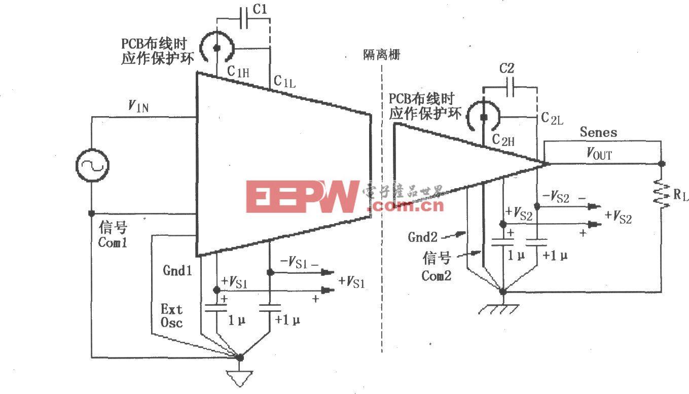 ISO120/121的信号与电源的基本连接电路