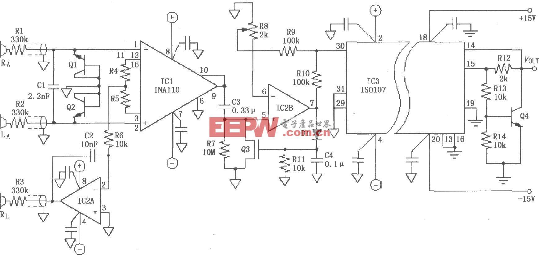 ISO107的ECG放大电路