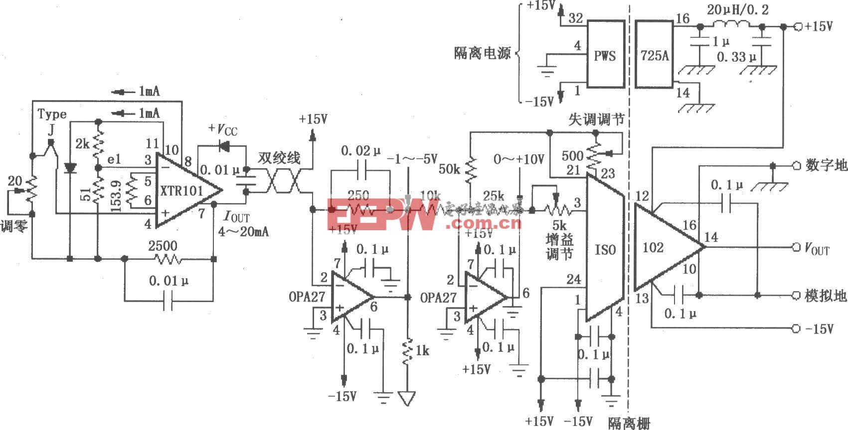 具有冷端补偿的远程隔离式热电偶变送电路(ISO102、XTR101)