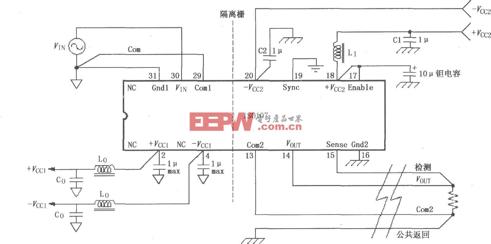 ISO107信号与电源的基本连接电路