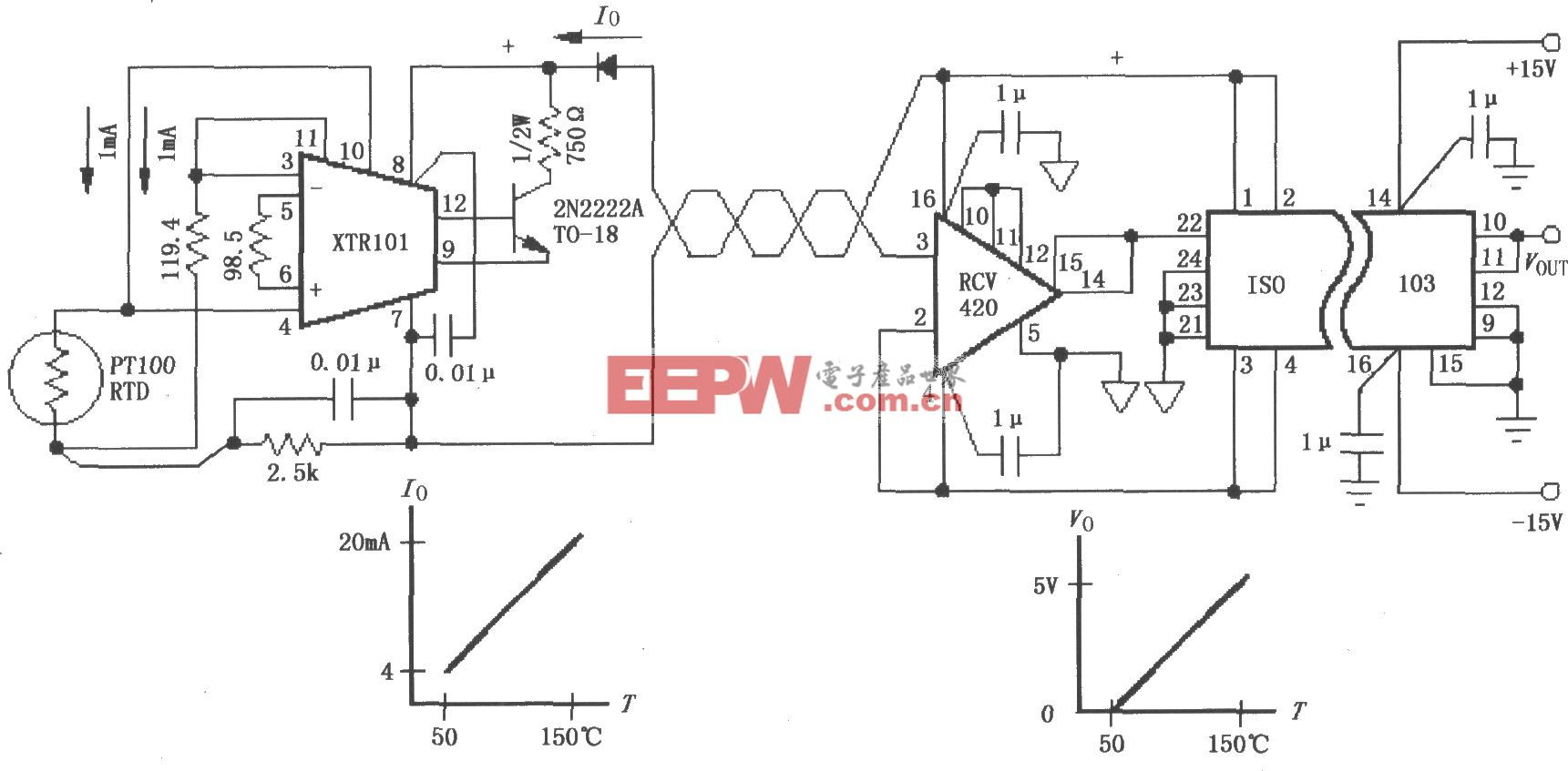 由ISO103与XTRl01构成的隔离式4~20mA仪器环路电路
