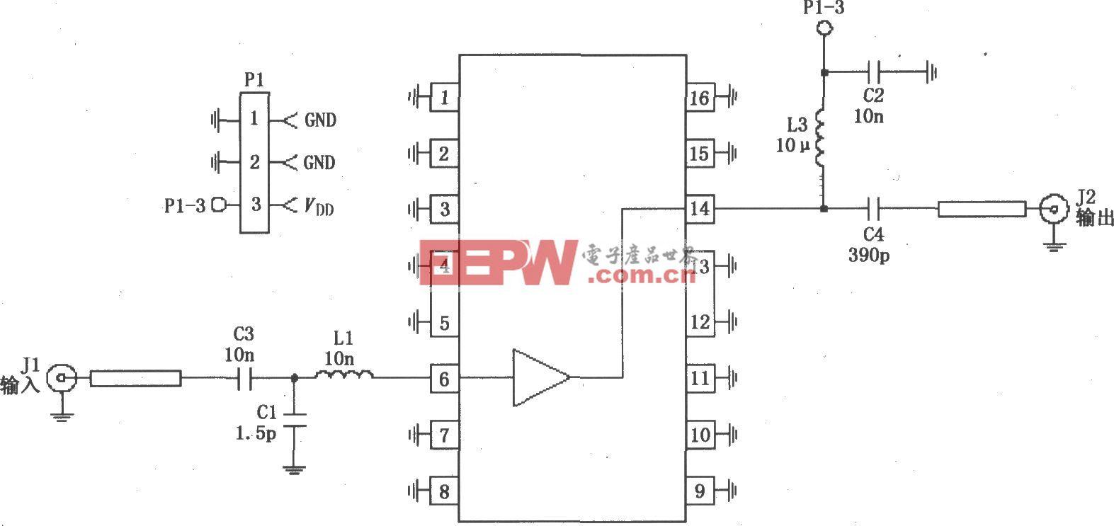 由RF2360构成的50~2000MHz、75Ω阻抗高频放大电路