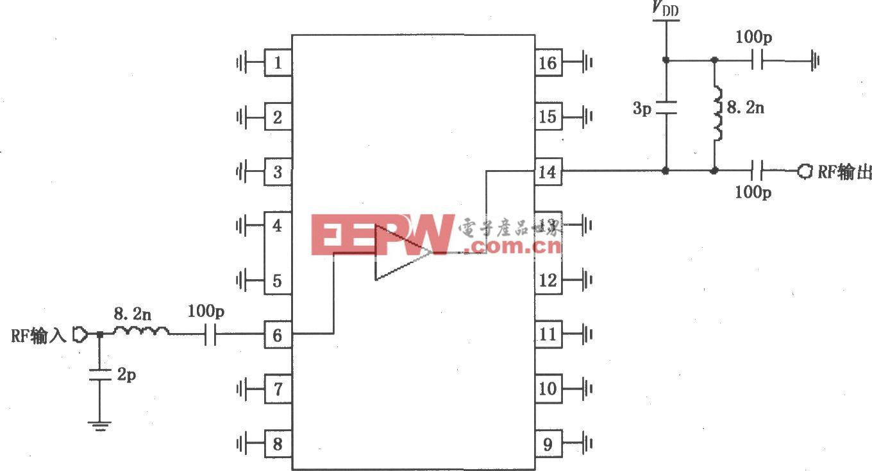 由RF2320/2360构成的869~894MHz窄带放大电路