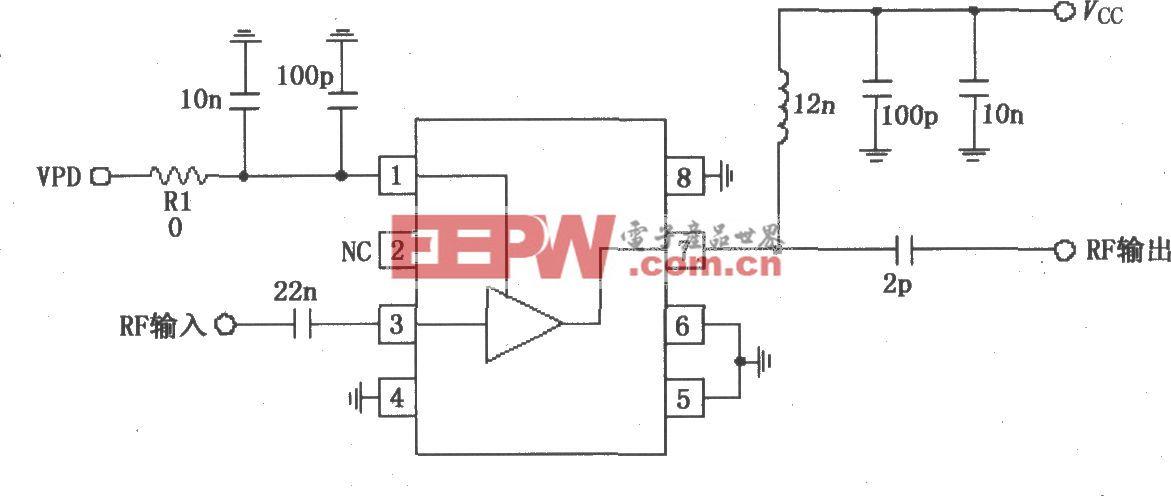 由RF2347构成的836MHz低噪声放大电路